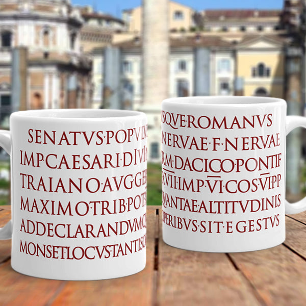 Trajan's Column Inscription Mug