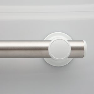 Standard Smartbar Brushed Stainless Steel Bar with White Mounts and White Elliptical Bar Caps. <span style='color:red'>Includes 2 fastener kits for wood studs (FK1001) <span>