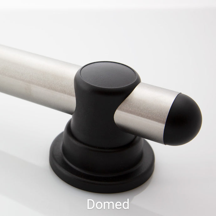 Standard Smartbar Brushed Stainless Steel Bar with Charcoal Mounts and Charcoal Domed Bar Caps. <span style='color:red'>Includes 2 fastener kits for wood studs (FK1001) <span>