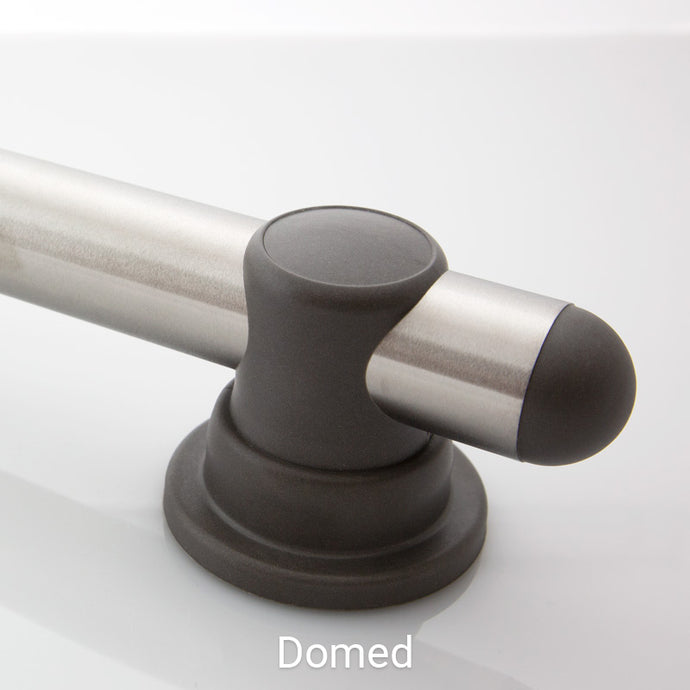 Standard Smartbar Brushed Stainless Steel Bar with Slate Mounts and Slate Domed Bar Caps