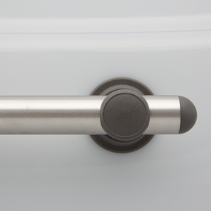 L-Bar SmartBar™ Brushed Stainless Steel Bar with Slate Mounts and Slate Domed Bar Caps. <span style='color:red'>Includes 3 fastener kits for wood studs (FK1001) <span>