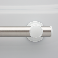 Z-Bar SmartBar™ Brushed Stainless Steel Bar with White Mounts and White Flush Bar Caps. <span style='color:red'>Includes 3 fastener kits for wood studs (FK1001) <span>