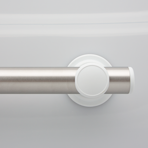 L-Bar SmartBar™ Brushed Stainless Steel Bar with White Mounts and White Flush Bar Caps. <span style='color:red'>Includes 3 fastener kits for wood studs (FK1001) <span>