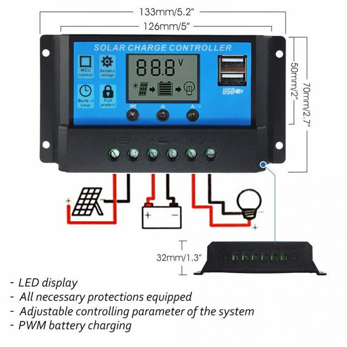 10A/20A/30A lamp Regulator Timer 12V/24V Solar panels Battery Charge Controller for LED street lighting or solar home system - Trivoshop.com