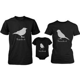 Papa Bird Mama Bird Hatchling Matching Tops Family Shirts and Baby Onesie Set