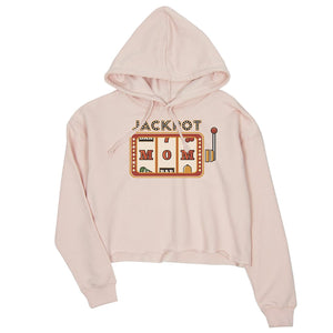 Jackpot Mom Womens Crop Hoodie Funny Mother's Day Gift Pullover