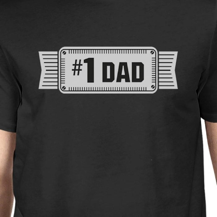 #1 Dad Mens Black Vintage Graphic Tee Funny Gifts For Fathers Day - Trivoshop