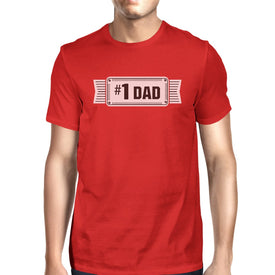 #1 Dad Mens Red Crew Neck Cotton Shirt Perfect Dad Birthday Gifts - Trivoshop