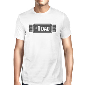 #1 Dad Mens White Vintage Graphic T-Shirt Fathers Day Gifts For Him - Trivoshop
