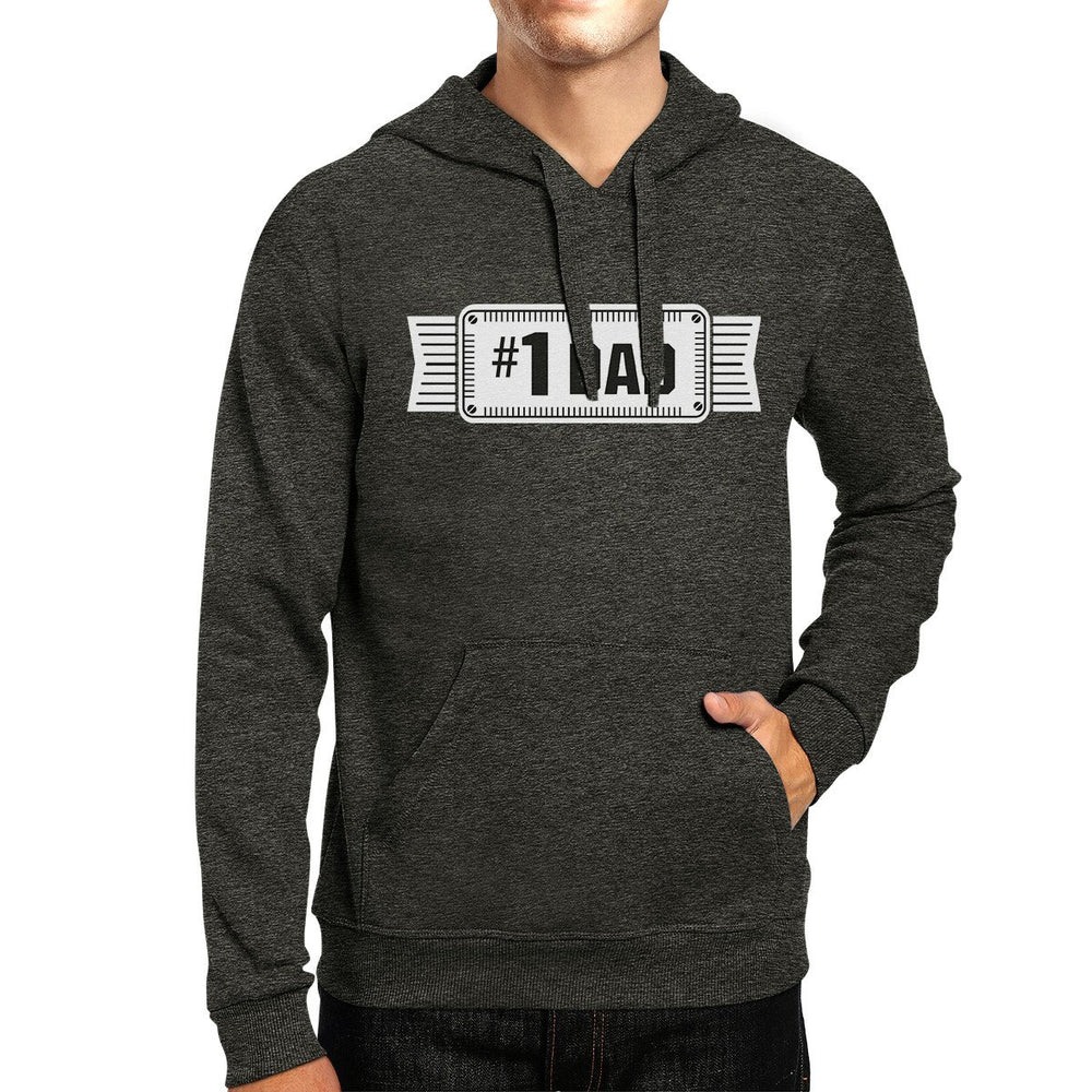 #1 Dad Unisex Dark Grey Funny Fathers Day Hoodie Pullover Fleece - Trivoshop