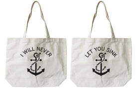 Women's Best Friend Anchor Matching BFF Natural Canvas Tote Bag for Friend - Trivoshop