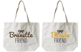 Women's Brunette and Blonde Best Friend Matching Natural Canvas Tote Bag - Trivoshop