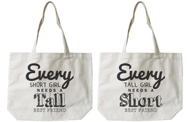 Women's BFF Short and Tall Best Friend Matching Natural Canvas Tote Bag - Trivoshop