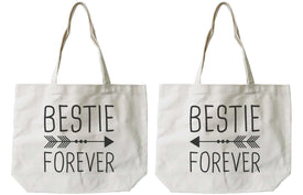 Women's Eco-friendly Bestie Forever BFF Matching Natural Canvas Tote Bag - Trivoshop