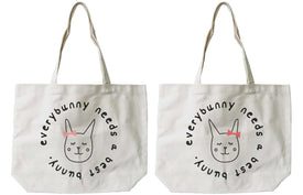 BFF Matching Canvas Tote Bag Natural - Everybunny Needs a Best Bunny - Trivoshop
