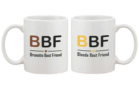 Cute Matching Coffee Mugs for Best Friends - Brunette and Blonde BFF Mug