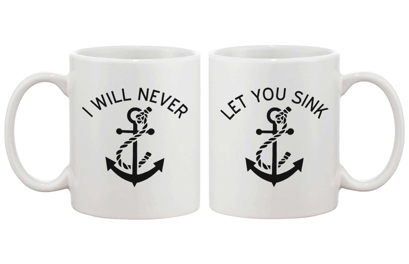 Anchor Matching BFF Coffee Mugs for Best Friend - I Will Never Let You Sink - Trivoshop