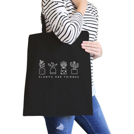 Plants Are Friends Black Canvas Bag Cute Design Gift Ideas For Her - Trivoshop