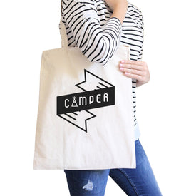 Camper Natural Canvas Bag Unique Graphic Gift Ideas Camping Lovers