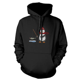 Penguin Fishing Hoodie Christmas Sweatshirt Graphic Print Sweater - Trivoshop