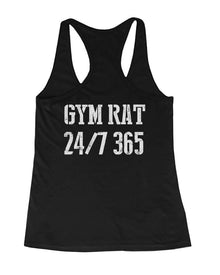 Gym Rat 24/7 365 Back Print Women's Workout Tank Top Sleeveless Sports Tank