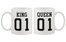 King 01 Queen 01 Couple Mug- Cute Matching Ceramic Cups Gift for Couples