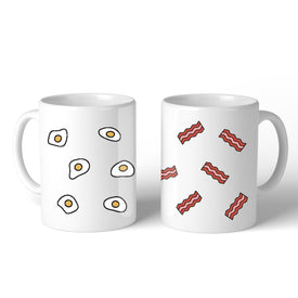 Fried Egg And Bacon Pattern  Couple Mug Christmas Valentine Gifts