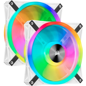Corsair iCUE QL140 RGB 140mm PWM White Fan - Dual Fan Kit with Lighting Node CORE - 2 Pack