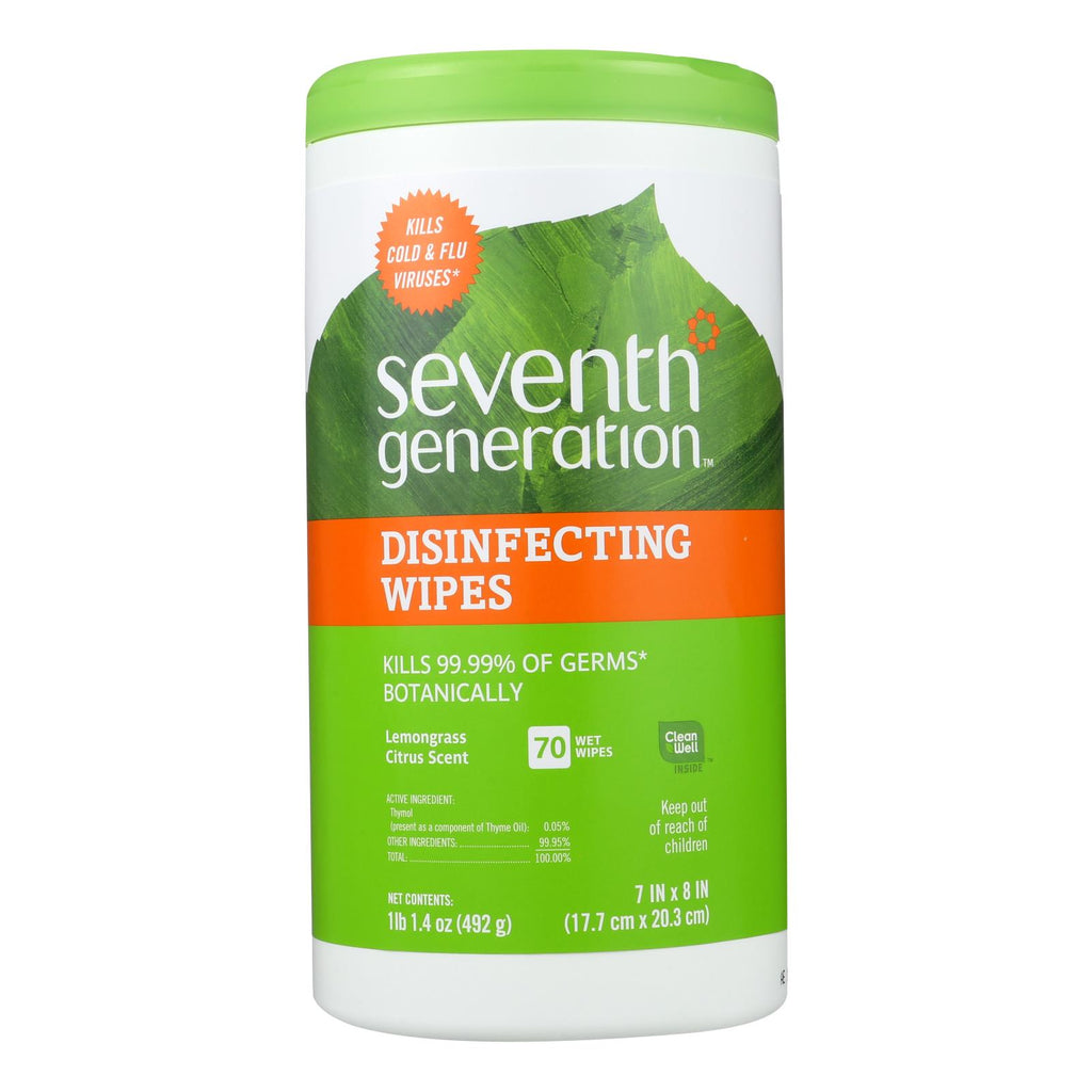 Seventh Generation Disinfecting Wipes Lemongrass And Citrus - 70 Wipes - Case Of 6 - Trivoshop