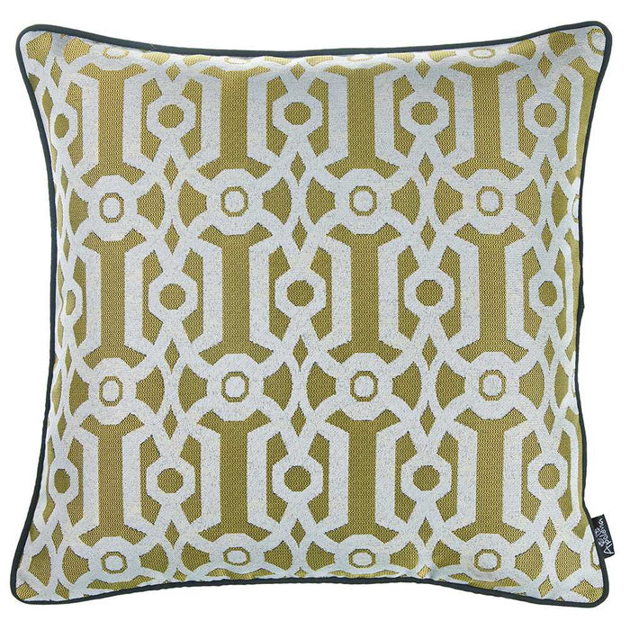 "17""x 17"" Yellow Jacquard Geo Decorative Throw Pillow Cover"