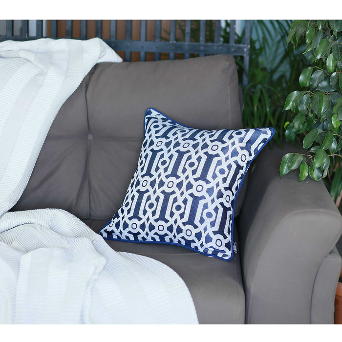 "17""x 17"" Light Blue Jacquard Geo Decorative Throw Pillow Cover"