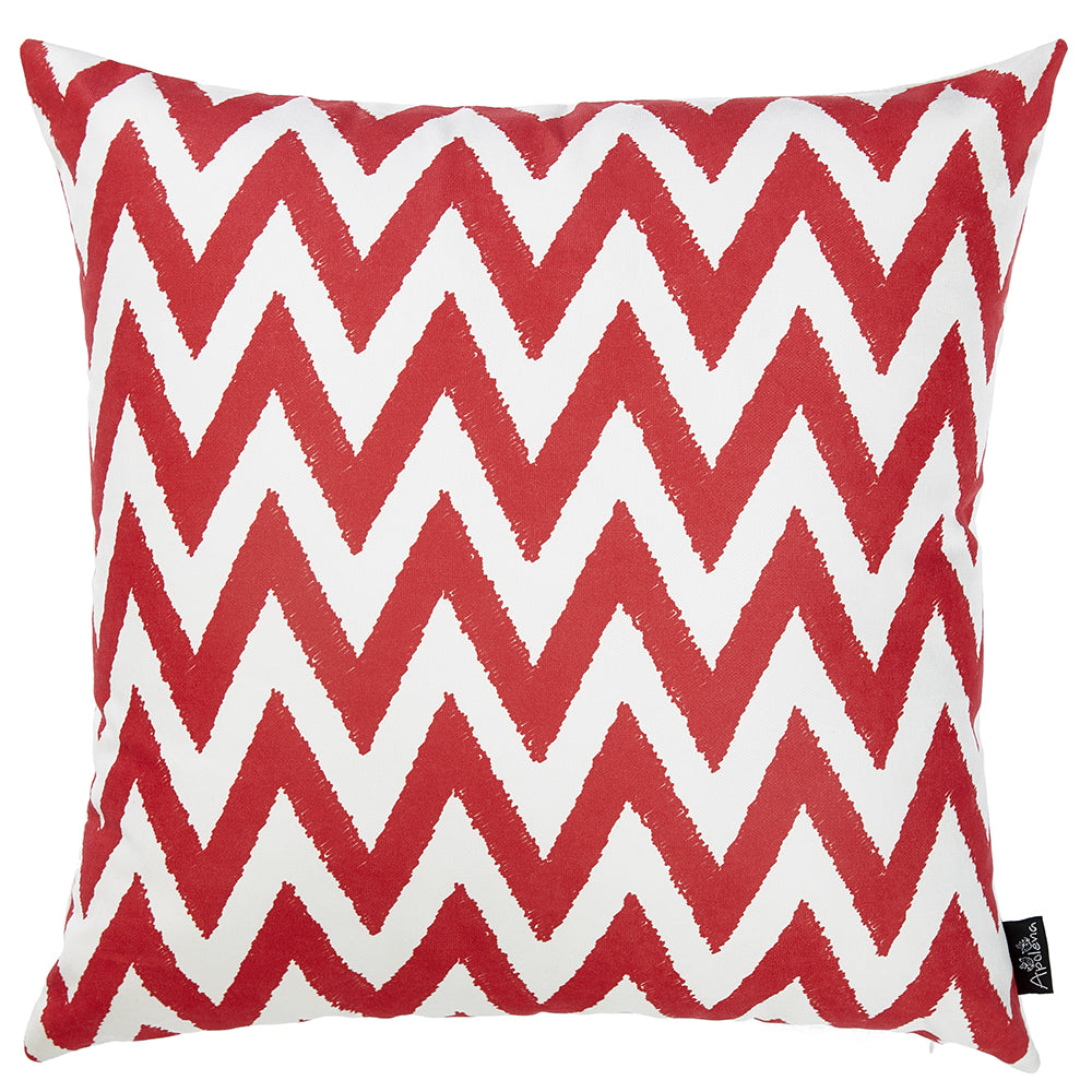 "18""x18"" Red Nautica Chevron Decorative Throw Pillow Cover Printed"