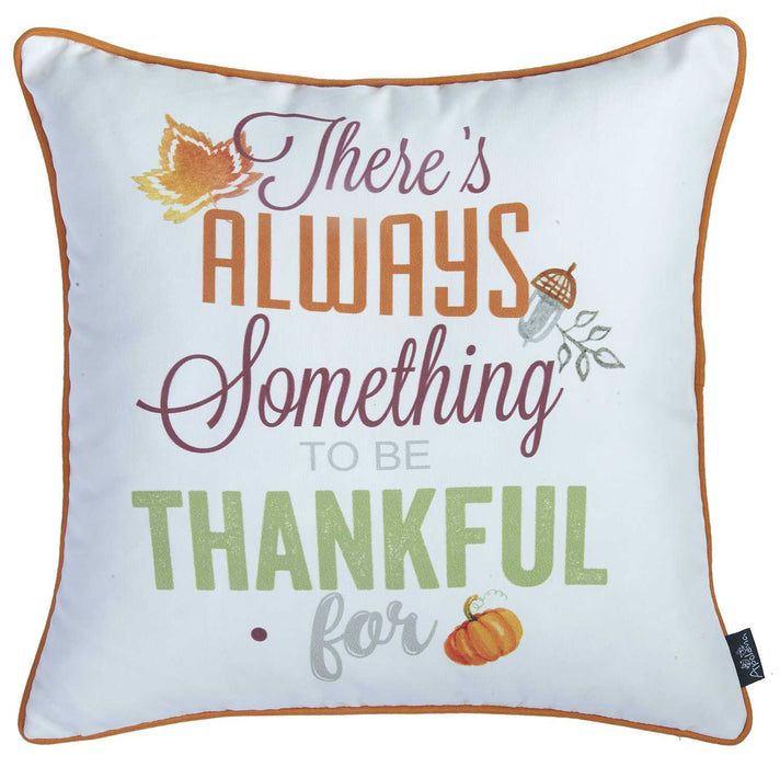 "18""x 18"" Thanksgiving Thankful Printed Decorative Throw Pillow Cover"