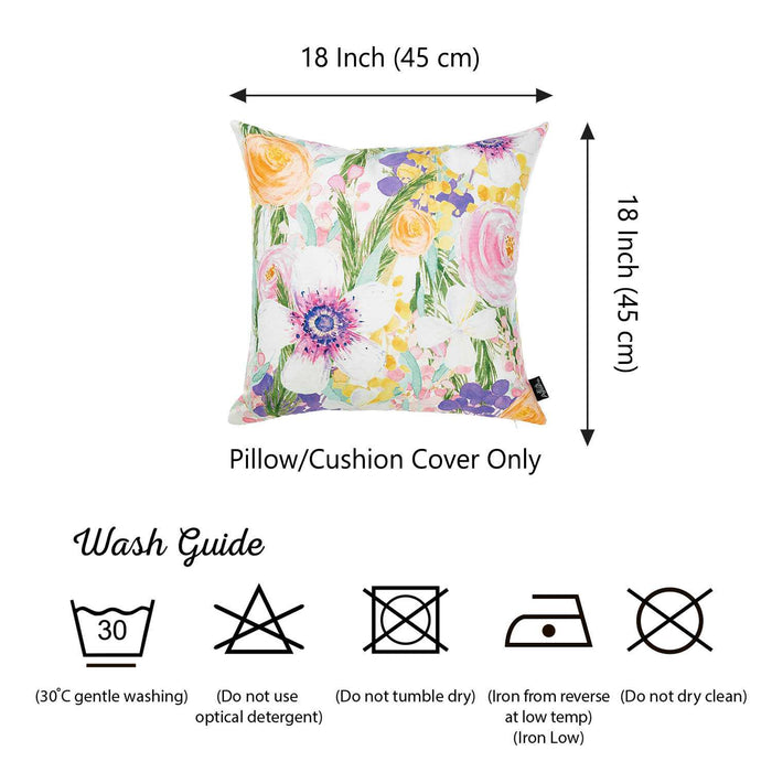 "18""x 18"" Watercolor Flower Garden Decorative Throw Pillow Cover"