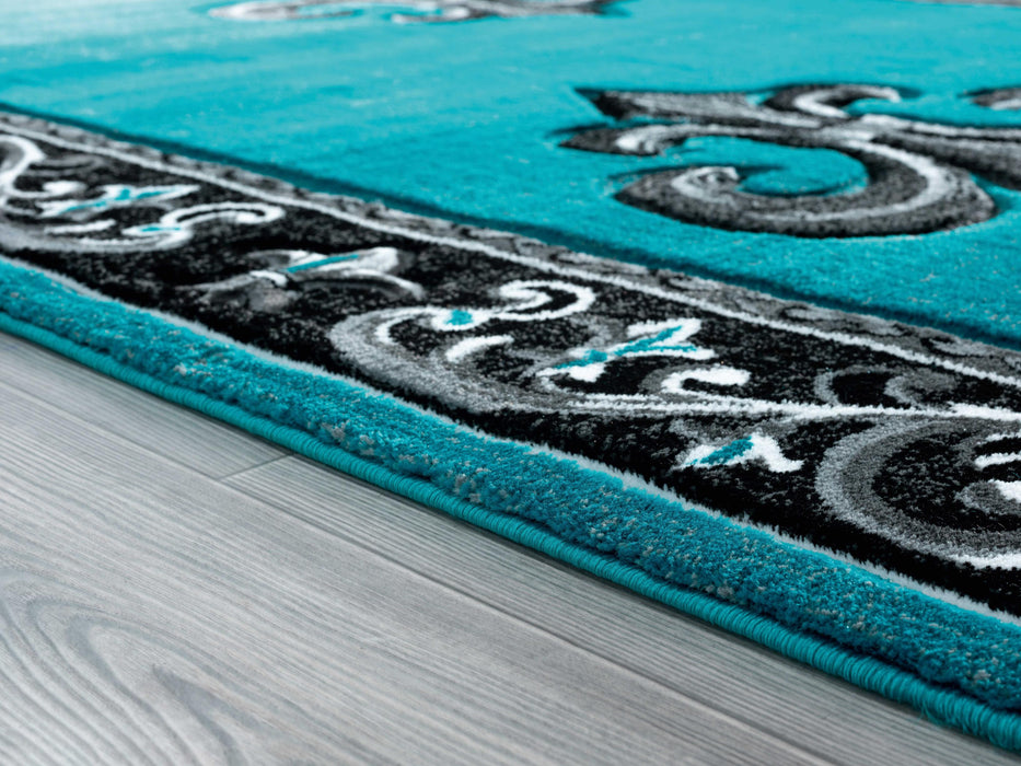 "22"" x 32"" x 0.53"" Turquoise Olefin-Polypropylene Accent Rug"