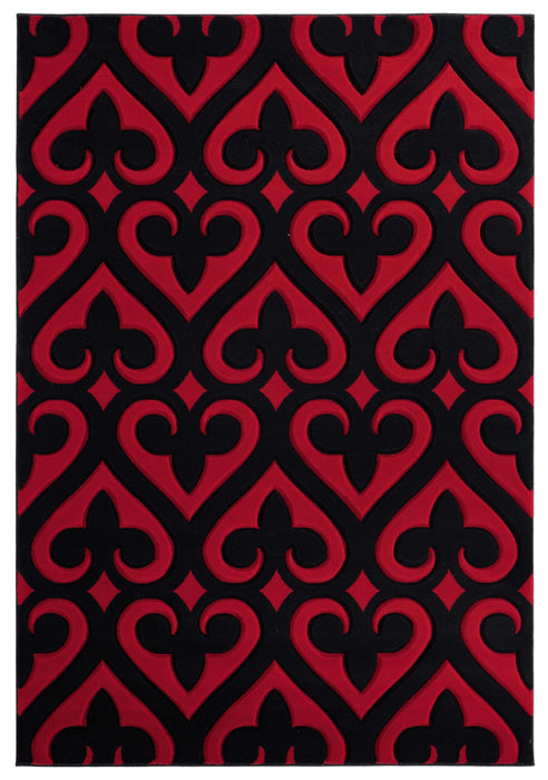 "94"" x 126"" x 0.53"" Red Olefin-Polypropylene Area Rug"