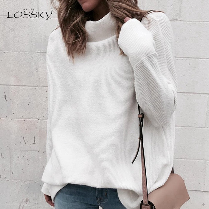 LOSSKY Long Sleeve Autumn Winter Sweater Women White Knitted Sweaters Pullover Jumper Fashion 2018 Turtleneck Sweater Female - Trivoshop