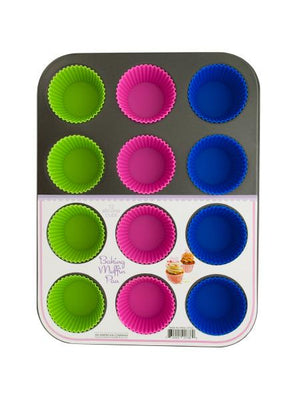 Muffin Baking Pan with Silicone Cups (Available in a pack of 1)