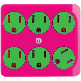 6-Outlet Power Tap (Pink & Green)
