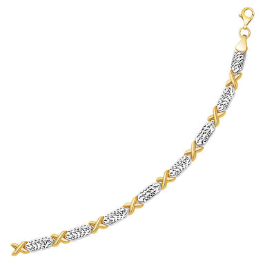14k Two-Tone Gold Fancy X Line Bracelet - Trivoshop