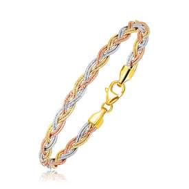 14k Tri-Tone Gold Braided Design Multi Strand Mirror Spring Bracelet