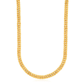 14k Yellow Gold Curb Style Chain Textured Necklace - Trivoshop