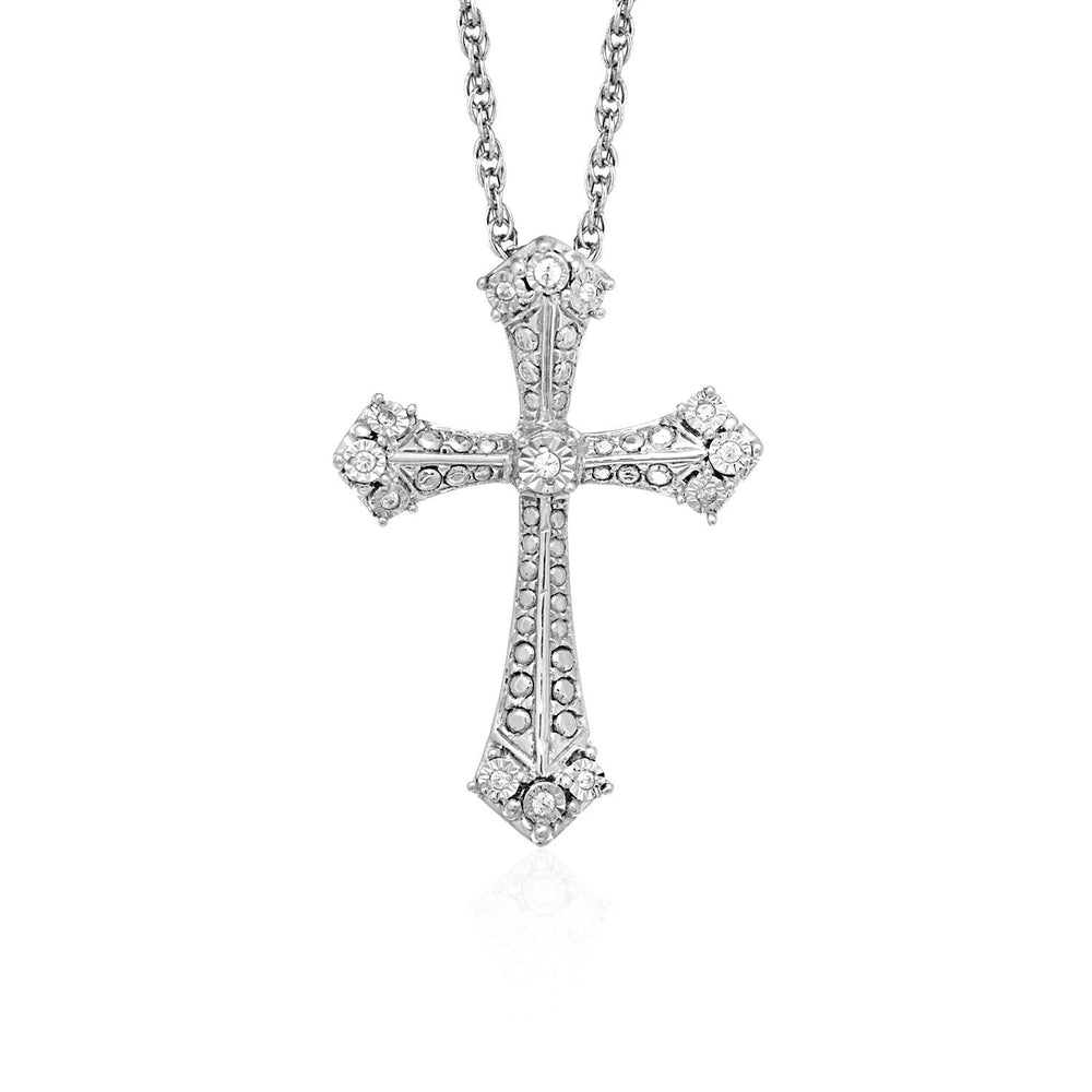 Gothic Cross Pendant with Diamonds in Sterling Silver