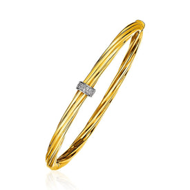 14k Yellow Gold and Diamond Twisted Bangle Bracelet (1/10 cttw)