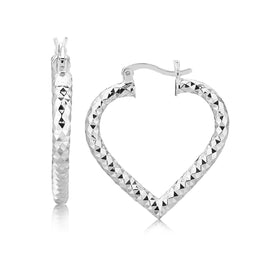 Sterling Silver Rhodium Plated Heart Style Hoop Diamond Cut Earrings - Trivoshop