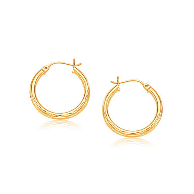 14k Yellow Gold 25mm Diameter Hoop Earring with Diamond-Cut Finish - Trivoshop