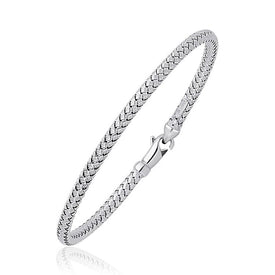 Fancy Weave Bangle in 14k White Gold (3.0mm) - Trivoshop