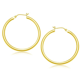 10k Yellow Gold Polished Hoop Earrings (40 mm)