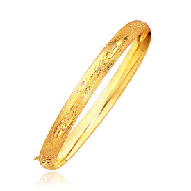 Classic Floral Carved Bangle in 14k Yellow Gold (6.0mm) - Trivoshop