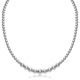 Sterling Silver Rhodium Plated Graduated Motif Polished Bead Necklace - Trivoshop